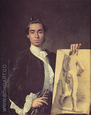 Portrait of the Artist Holding a Life Study - Luis Melendez reproduction oil painting