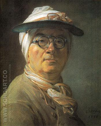 Portrait of Chardin Wearing an Eyeshade 1775 - Jean Simeon Chardin reproduction oil painting