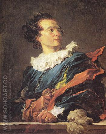 Frantastic Figure Portrait of the Abbe de Saint Non - Jean-Honore Fragonard reproduction oil painting