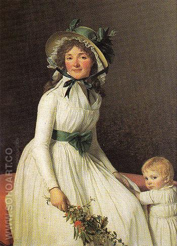 Emilie Seriziat nee Pecoul and Her Son Emil - Jacques Louis David reproduction oil painting