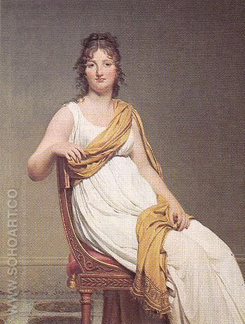 Madame de Verninac nee Henriette Delacroix Sister of Eugene Delacroix - Jacques Louis David reproduction oil painting