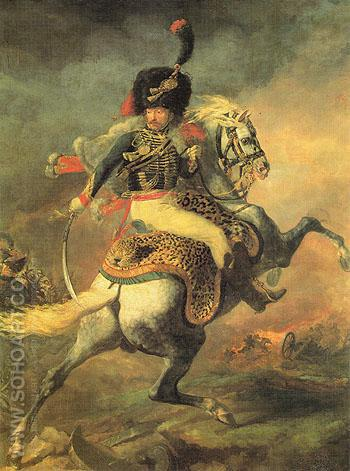 An Officer of the Imperial Horse Guards Charging - Theodore Gericault reproduction oil painting