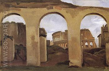 The Colosseum seen through the  Arcades of the Basilica of Constantine - Jean-baptiste Corot reproduction oil painting