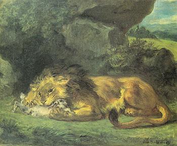 Lion Devouring a Rabbit - F.V.E. Delcroix reproduction oil painting