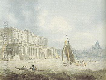 Somerset House from the Thames 1788 - Edward Dayes reproduction oil painting
