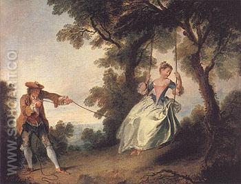 The Swing c1735 - Nicolas Lancret reproduction oil painting