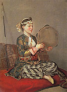 Turkish Woman with a Tambourine - Jean Etienne Liotard reproduction oil painting