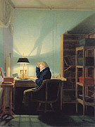 Man Reading at Lamplight 1814 - Georg Friedrich Kersting reproduction oil painting
