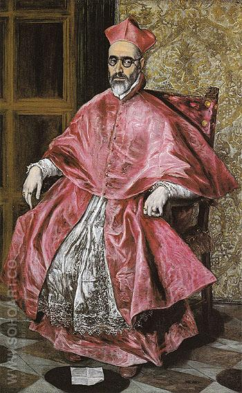 Portrait of A Cardinal - El Greco reproduction oil painting