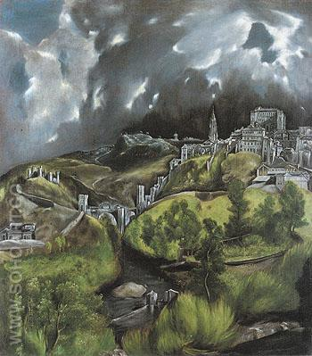 View of Toledo c1597 - El Greco reproduction oil painting