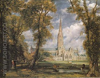 Salisbury Cathedral from the Bishops Grounds c1825 - John Constable reproduction oil painting