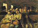 The Third Class Carriage c1860 - Honore Daumier reproduction oil painting