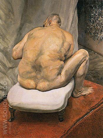 Naked Man Back View c1991 - Lucien Freud reproduction oil painting