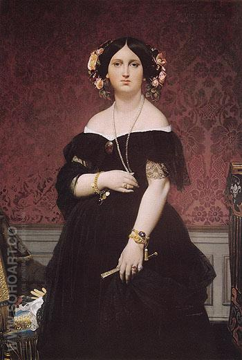 Madame Paul Sigisbert Moitessier 1851 - Jean-Auguste-Dominique-Ingres reproduction oil painting