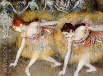 Dancers Bending Down (The Ballerinas) 1885 - Edgar Degas reproduction oil painting