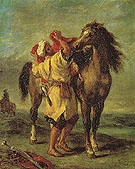 Moroccan Saddling a Horse 1855 - F.V.E. Delcroix reproduction oil painting