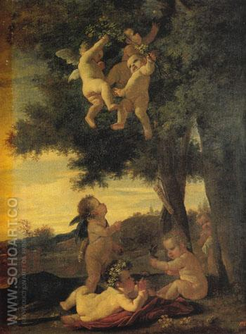 Cupids and Genii 1630 - Nicolas Poussin reproduction oil painting