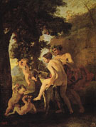 Satyr and Bacchante 1630 - Nicolas Poussin reproduction oil painting
