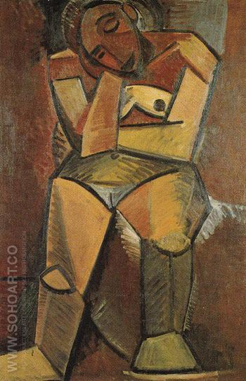 Seated Woman 1908 - Pablo Picasso reproduction oil painting