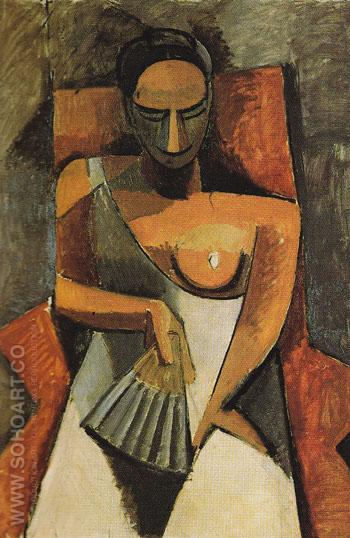 Woman with a Fan 1908 - Pablo Picasso reproduction oil painting