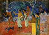 Scene from Tahitian Life 1896 - Paul Gauguin reproduction oil painting