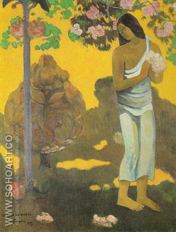 Woman with Flowers in Her Hands 1893 - Paul Gauguin reproduction oil painting