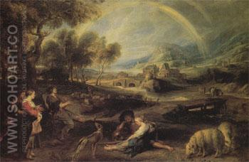 Landscape with a Rainbow 1630 - Peter Paul Rubens reproduction oil painting