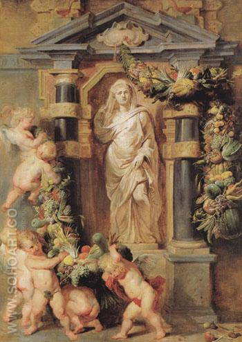 Statue of Ceres c1615 - Peter Paul Rubens reproduction oil painting