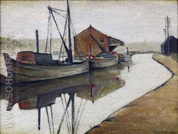 Barges on Manchester Canal  1946 - L-S-Lowry reproduction oil painting