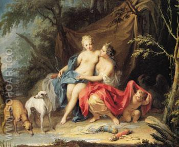Jupiter and Callisto - Jacopo Amigoni reproduction oil painting