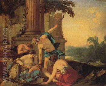 Mercury Giving Bacchus to Nymphs to Raise 1638 - Laurent de la Hyre reproduction oil painting