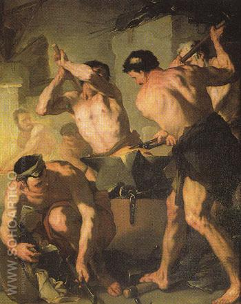 Vulcans Forge - Luca Giordano reproduction oil painting