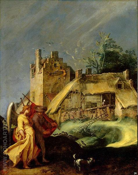 Landscape with Tobias and the Angel - Abraham Bloemaert reproduction oil painting