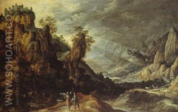 Landscape with Tobias and the Angel - Kerstiaen de Keuninck reproduction oil painting