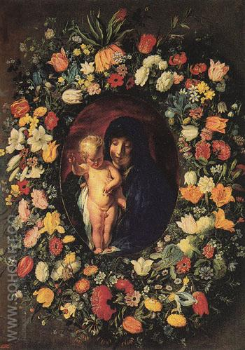 Madonna and Child Wreathed with Flowers c1618 - Jacob Jardaens reproduction oil painting