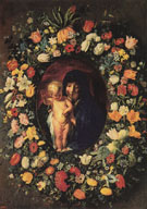 Madonna and Child Wreathed with Flowers c1618 - Jacob Jardaens