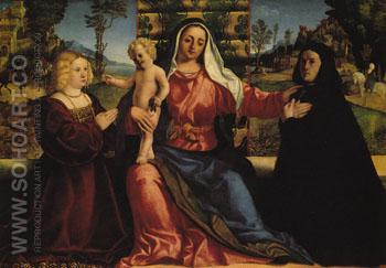 Madonna and Child with Painting Commissioners - Palma Vecchio reproduction oil painting