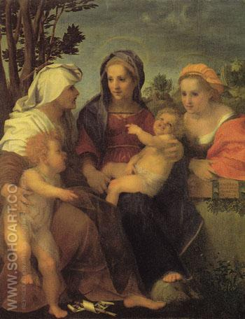 Madonna and Child with St Catherine St Elizabeth and JOhn the Baptist 1519 - Andrea Del Sarto reproduction oil painting