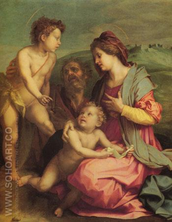 Holy Family with John the Baptist - Andrea Del Sarto reproduction oil painting