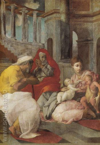Holy Family with St Elizabeth and John the Baptist - Francesco Primaticcio reproduction oil painting