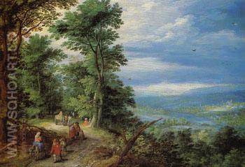 Forests Edge Flight into Egypt 1610 - Jan Brueghel reproduction oil painting