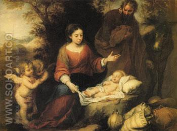 Rest on the Flight into Egypt - Bartolome Esteban Murillo reproduction oil painting