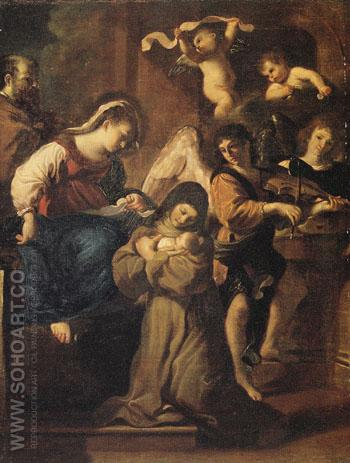 The Vision of St Francesca Romana - Giovanni Francesco Barbieri reproduction oil painting