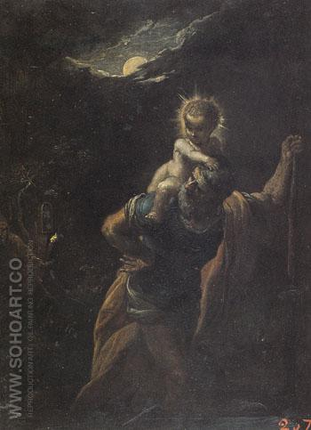 St Christopher - Adam Elsheimer reproduction oil painting