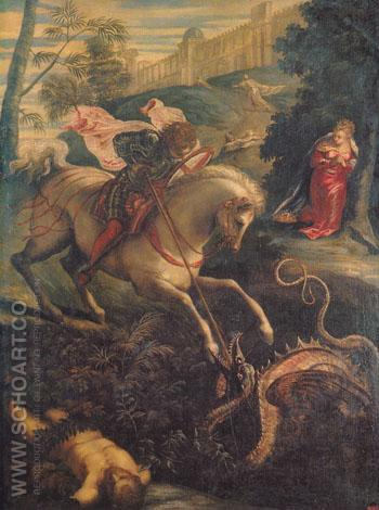 St George and the Dragon - Jacopo Tintoretto reproduction oil painting