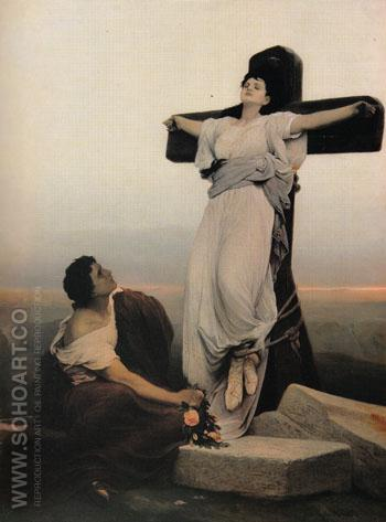 A Christian Martyr on the Cross St Julia - Gabriel Cornelius von Max reproduction oil painting