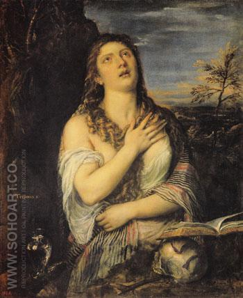 Penitent Mary Magdalen 1560 - Titian reproduction oil painting