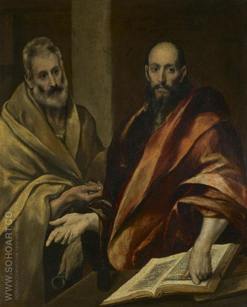 The Apostles Peter and Paul 1587 - El Greco reproduction oil painting