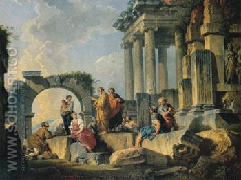 Ruins with Scene of the Apostle Paul Preaching 1744 - Giovanni Paolo Panini reproduction oil painting