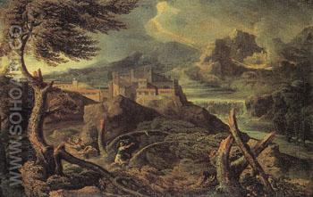 Landscape with Lightning 1665 - Gaspard Poussin reproduction oil painting